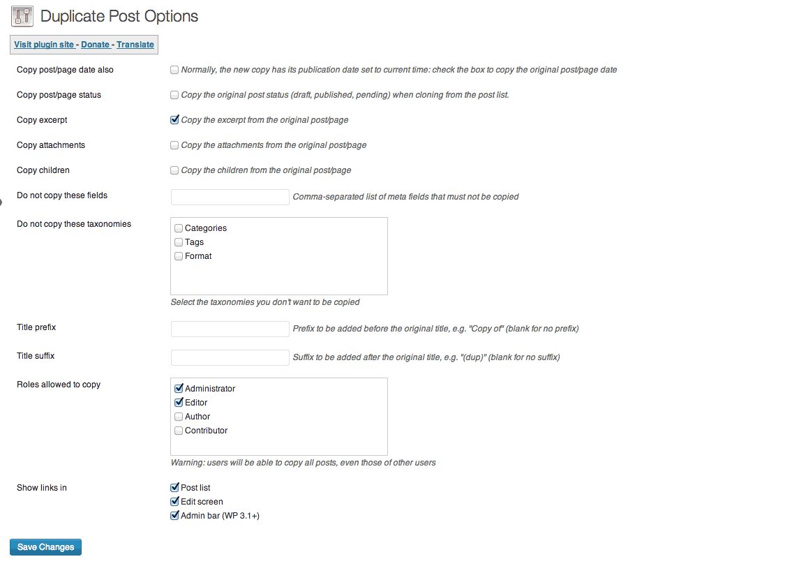 The Duplicate Post settings page