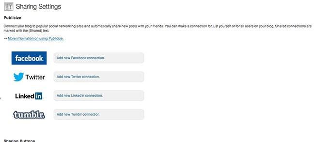 Publicize feature settings