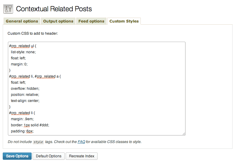 Use custom styles to add CSS to your related posts