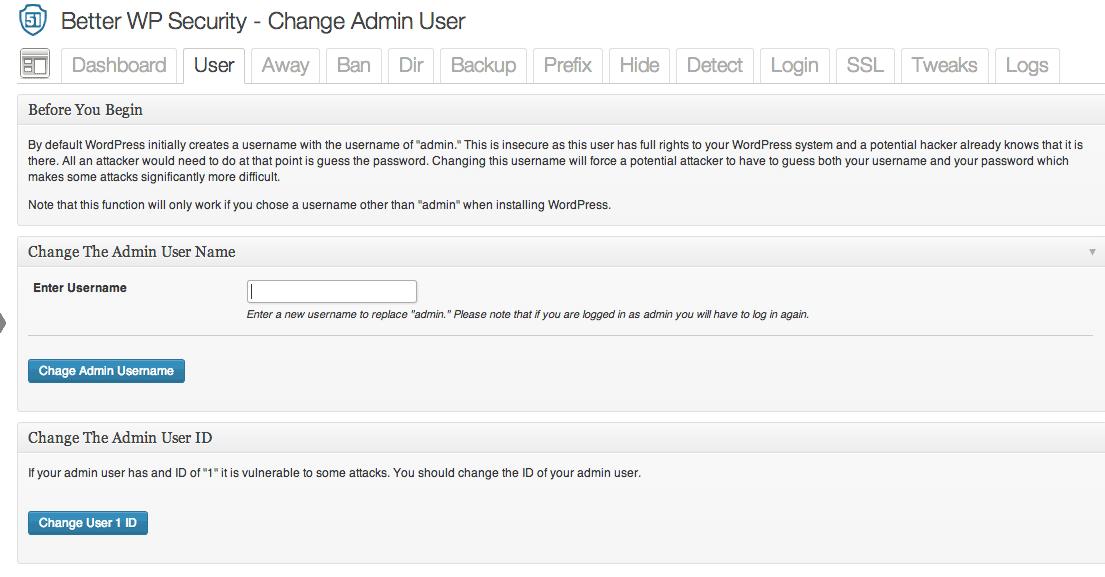 The User tab