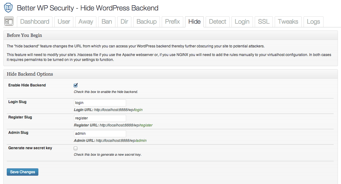 "The ""hide backend"" feature"