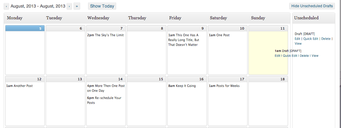 Drag Drafts into the calendar to schedule them