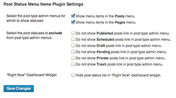 Global options for Post Status Menu Items