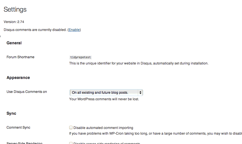 Disqus WordPress Plugin Settings Page