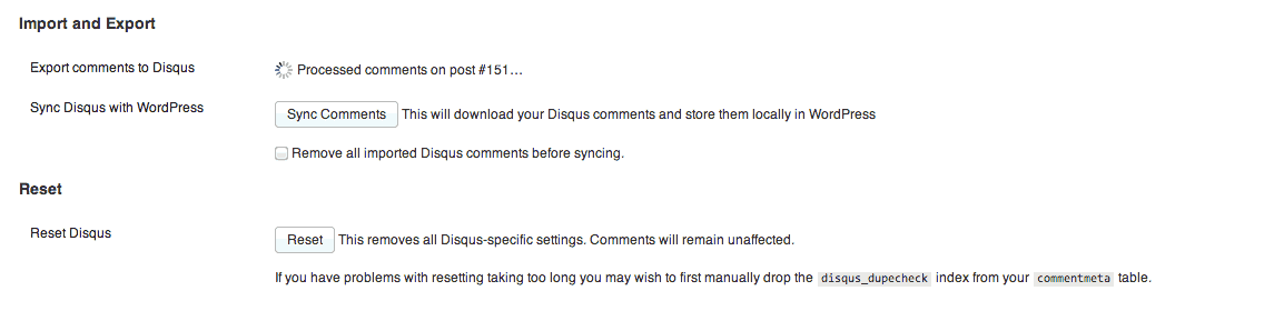 Disqus Import/Export Settings