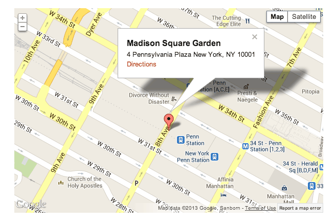 Wp flexible map plugin for wordpress for Address of madison square garden