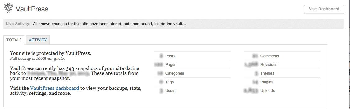 VaultPress Plugin Settings