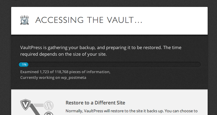 VaultPress Plugin Backup options