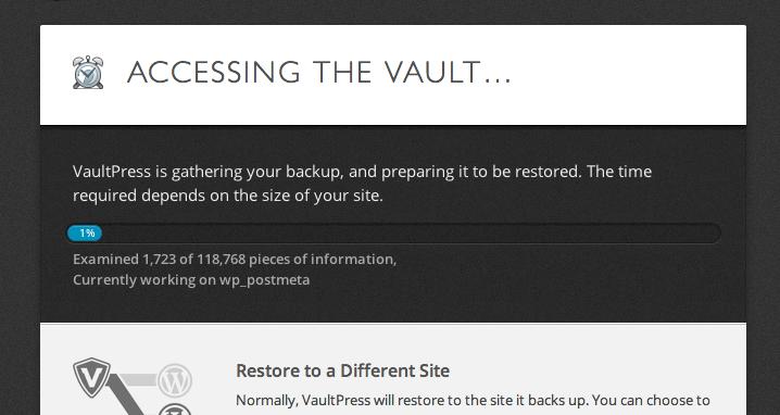 VaultPress Plugin Backup options