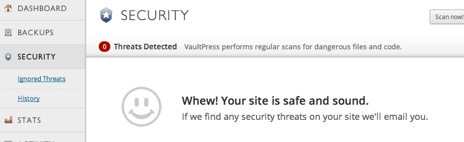VaultPress security tab
