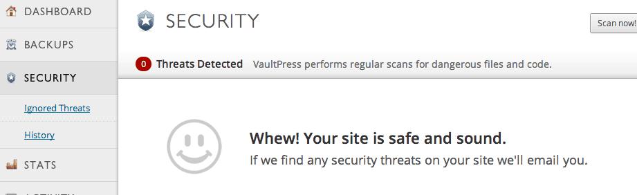 VaultPress security tab