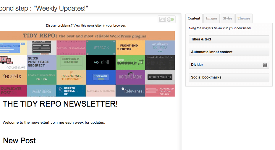 WYSIJA Newsletter Creation