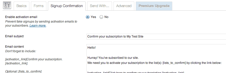 Customize your confirmation auto-responder