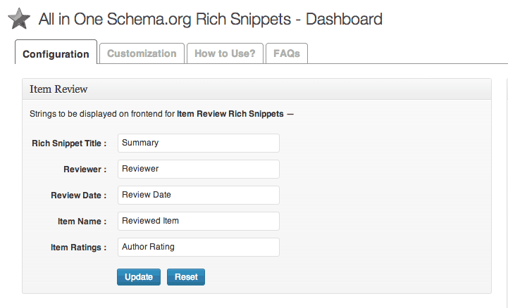 Schema.org Rich Snippet Plugin Settings