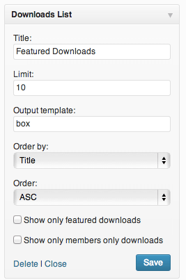 The Download Monitor Widget and its settings