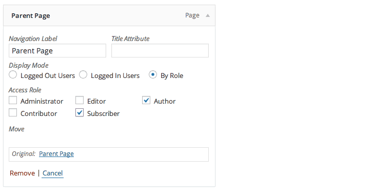 Just select the user roles you want to see each navigation item