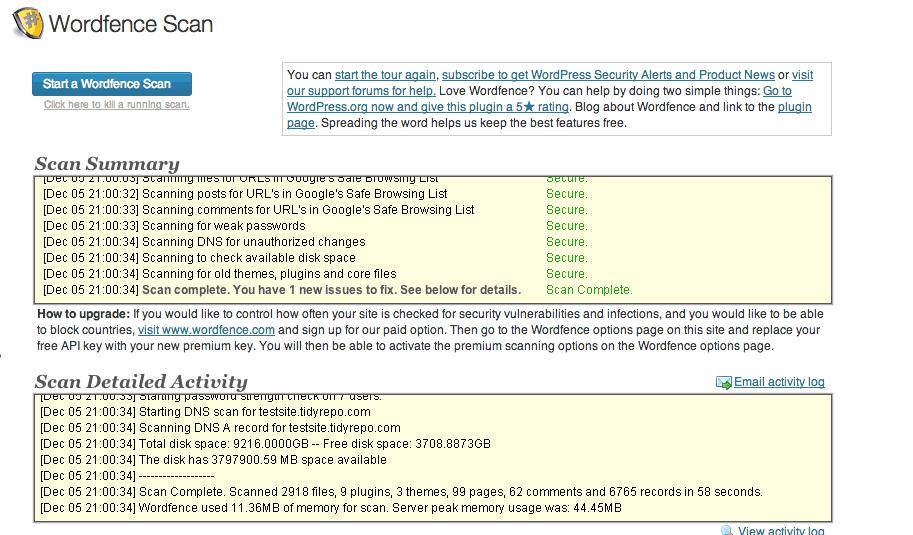 Security scan's progress report