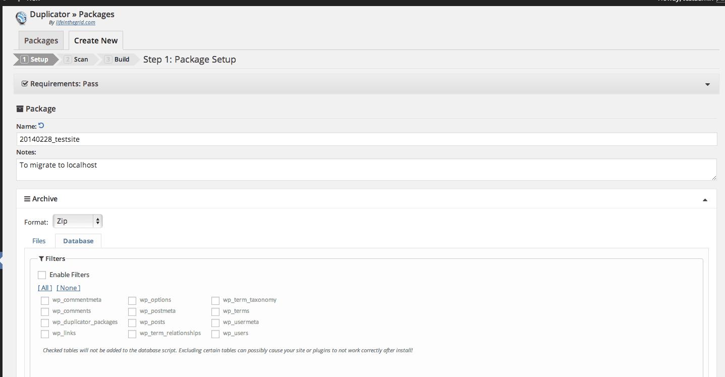 WordPress Duplicator Plugin settings page