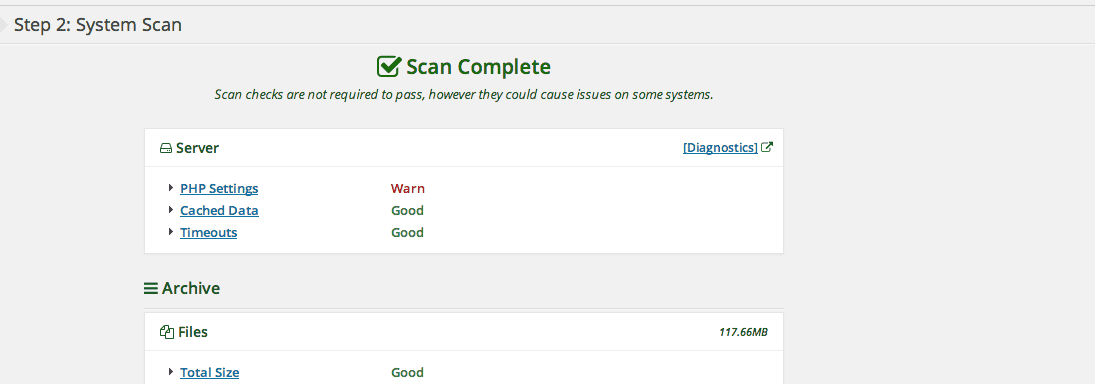 WordPress Duplicator system scan