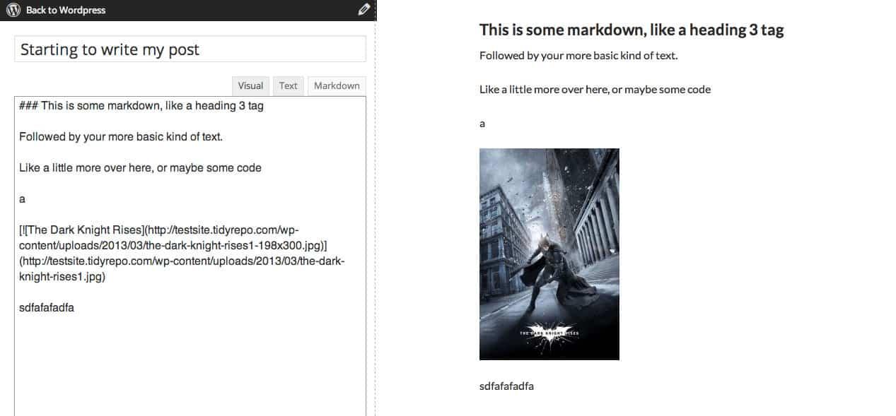 Markdown editor in PrettyPress
