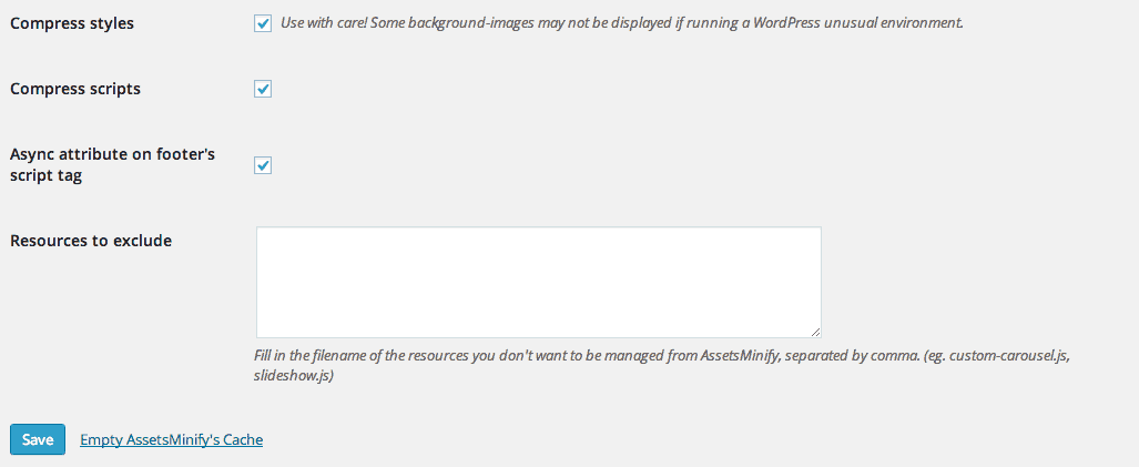 AssetsMinify Plugin settings page