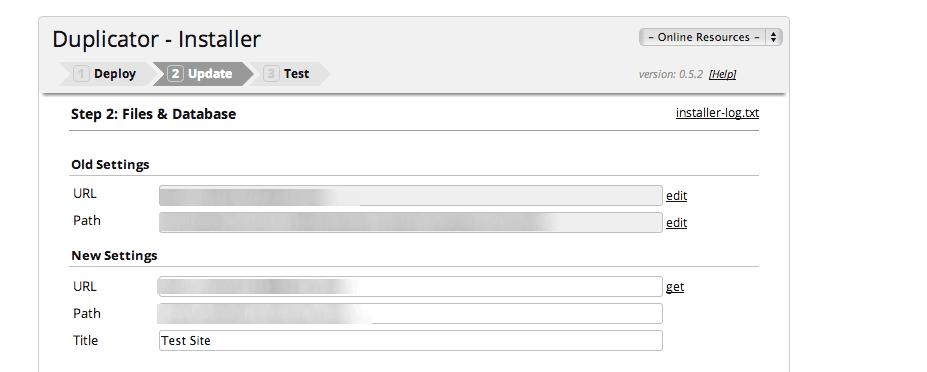 WordPress Duplicator Update settings page