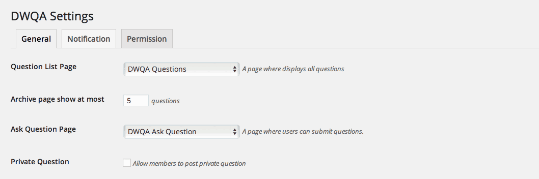 DW Question & Answer Plugin Settings