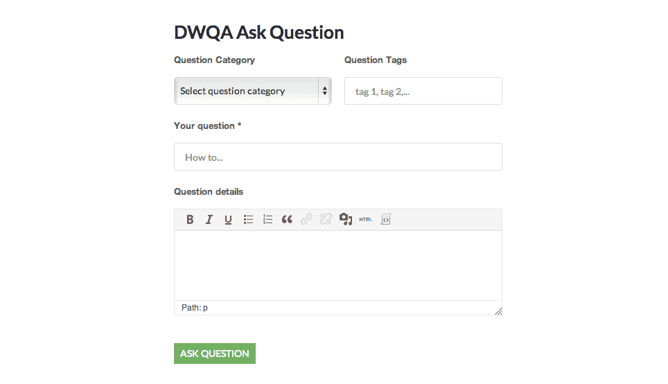 DW Question & Answer ask a question page