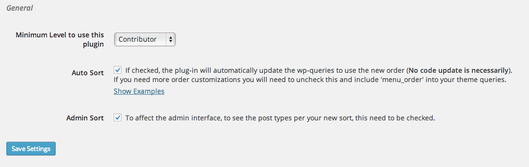Post Types Order Admin Settings page