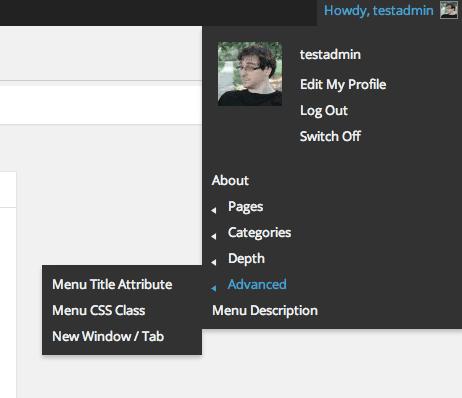 Admin Toolbar Menus plugin front-end display