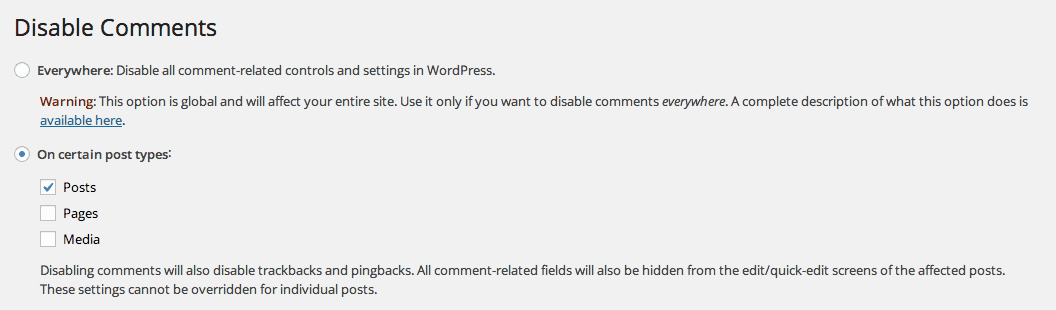 Disable Comments Plugin Options