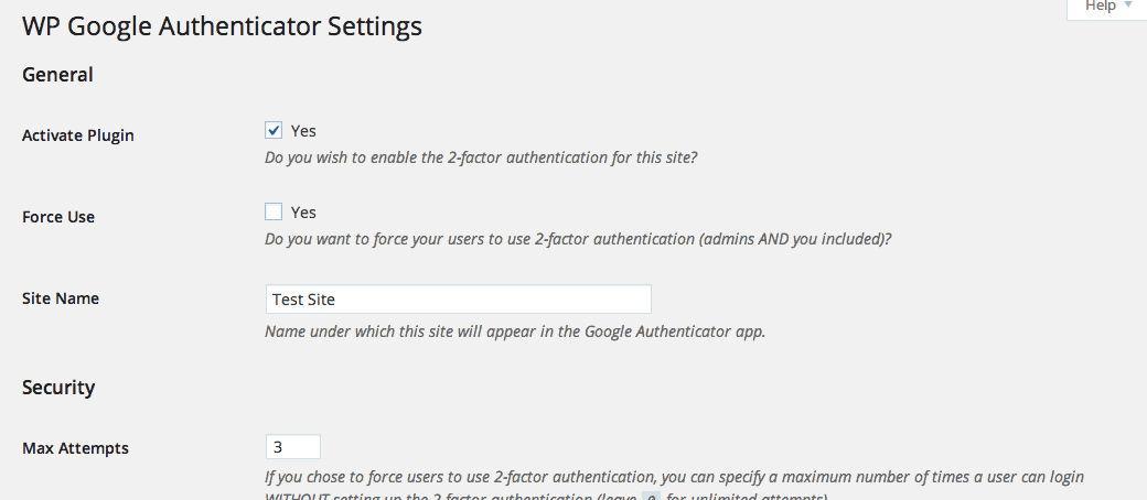 Google Authenticator for WordPress Settings Page