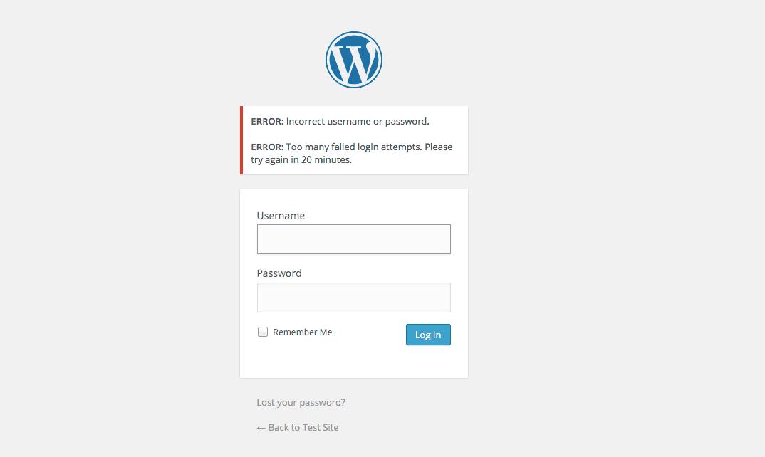 Limit Login Attempts Blocked Passwords