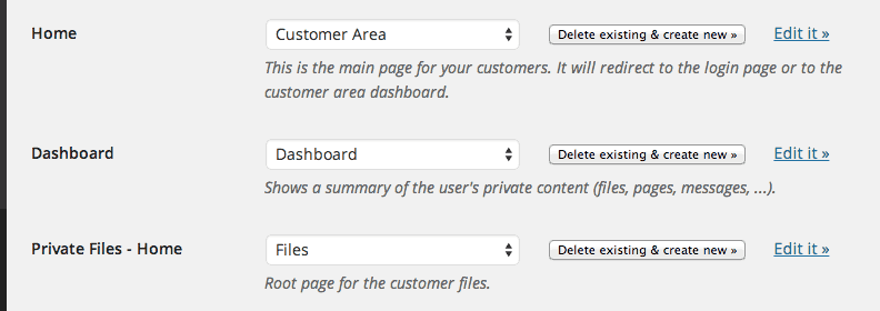 Customer Area Plugin Page Settings