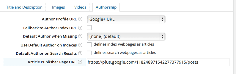 NextGEN Open Graph Plugin Authorship Settings