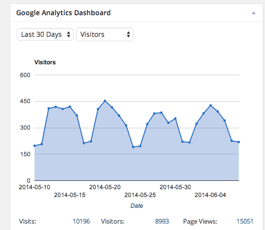 Google Analytics stats, right in the admin dashboard