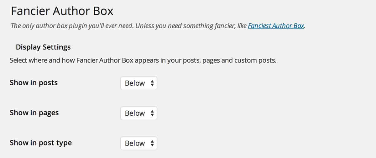 Fancier Author Box plugin settings