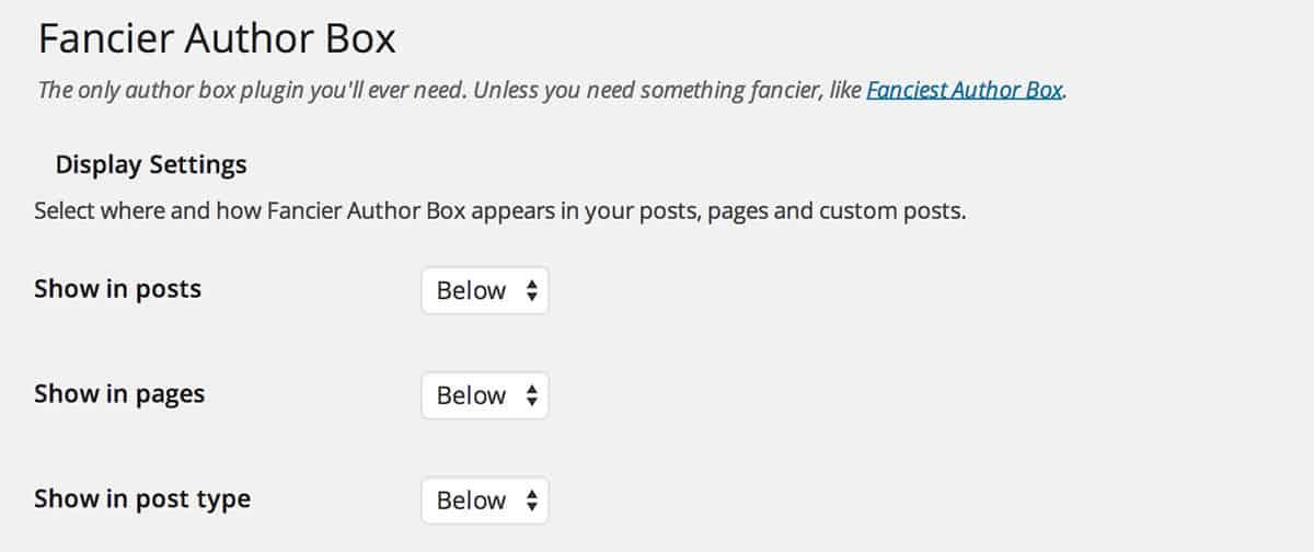 Fancier Author Box plugin settings