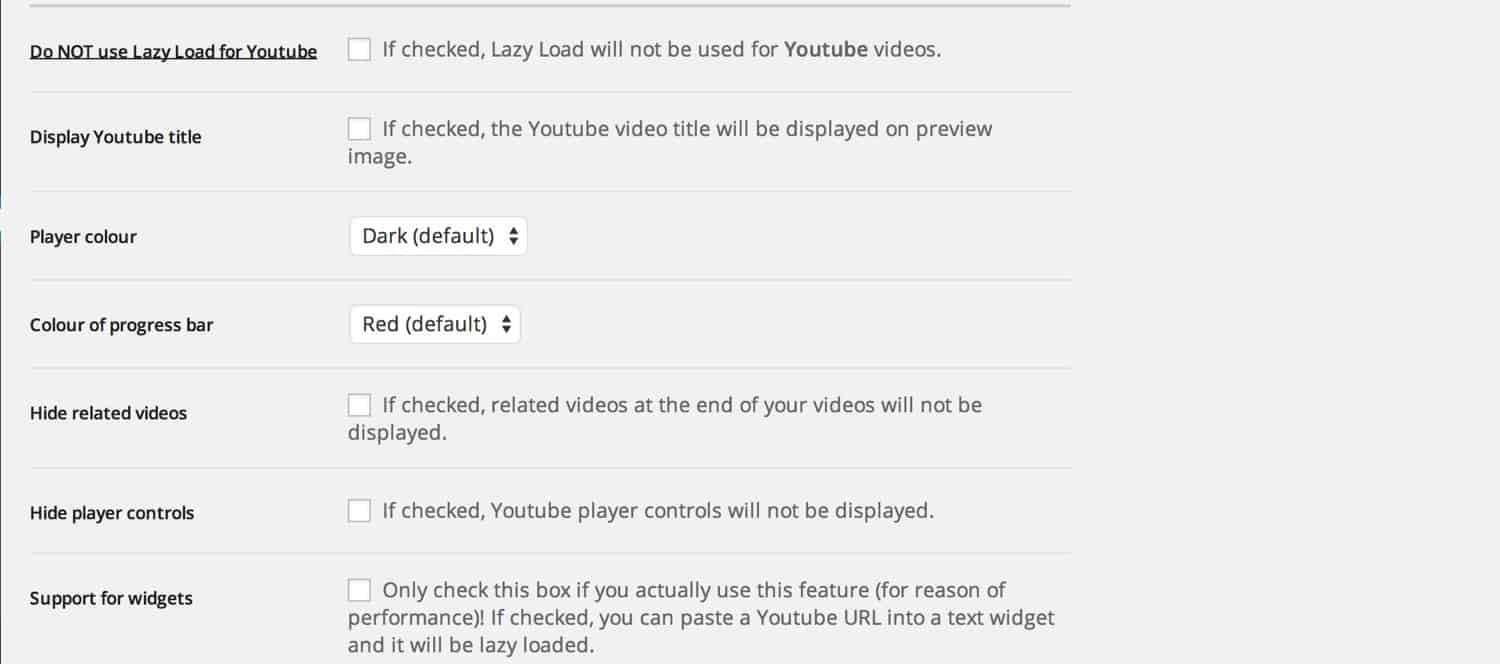 Lazy Load for Videos YouTube settings
