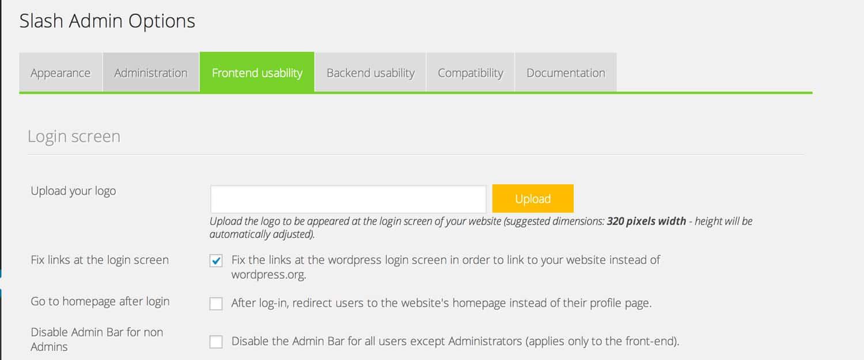 Slash Admin front-end settings