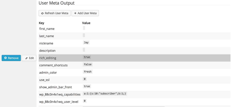 User Meta Data Display Plugin settings