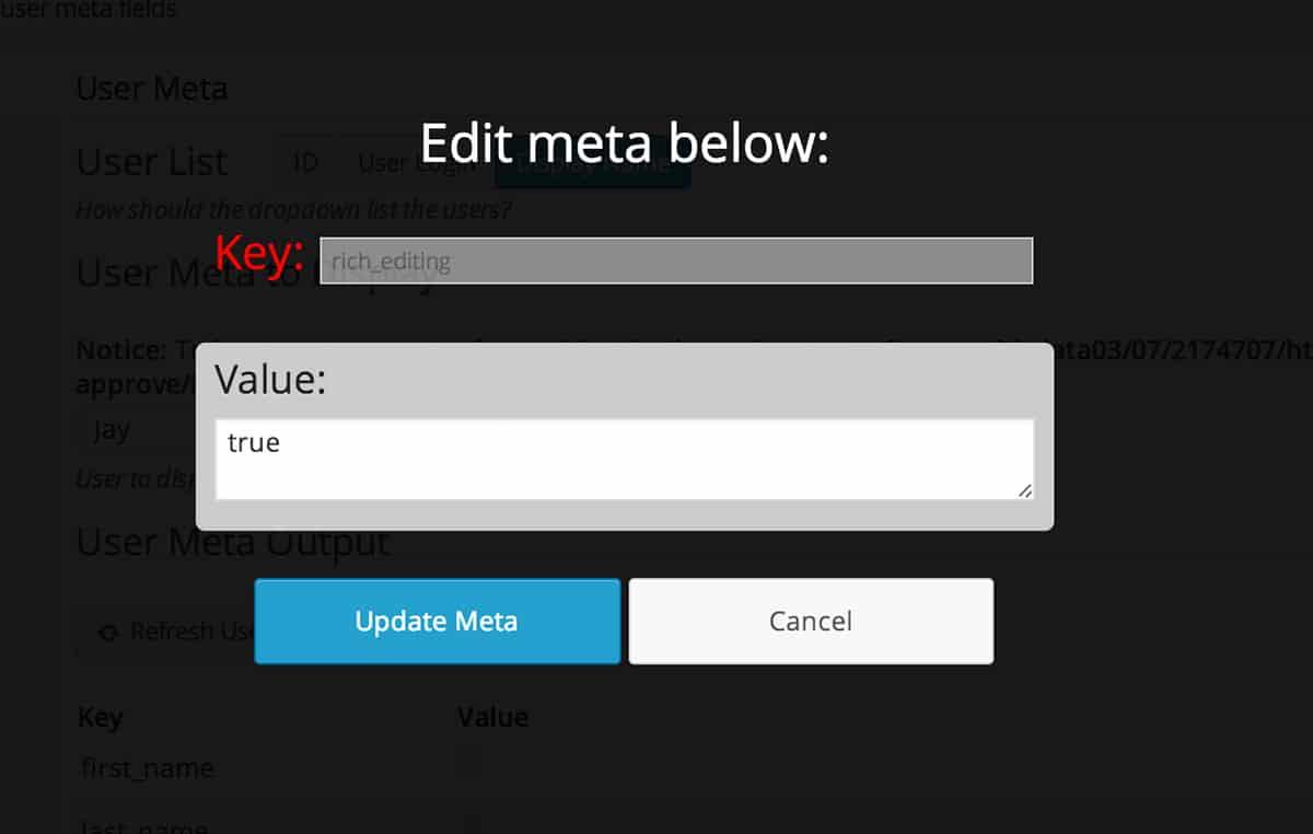 User Meta Display editing screen