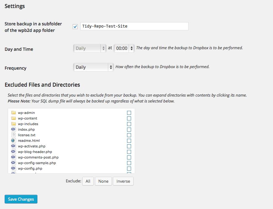WPB2DB plugin settings