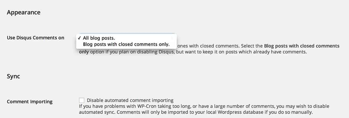 Disqus Conditional Load settings