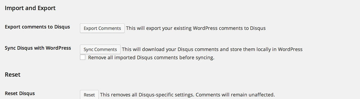 Disqus Conditional Load Plugin Import / Export