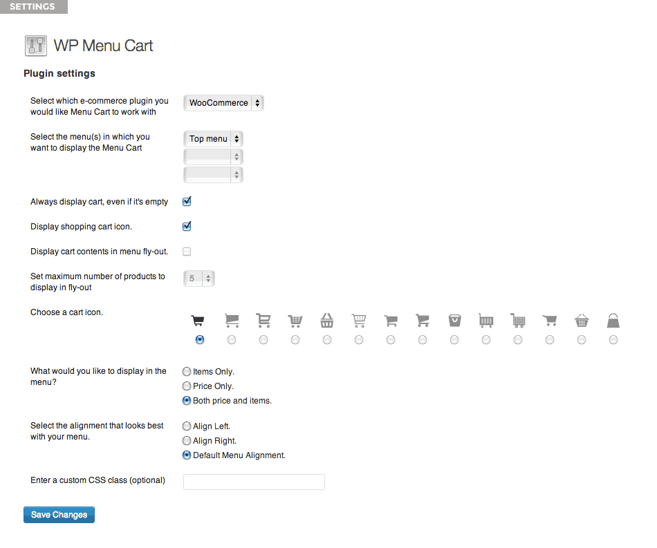 The WP Menu Cart settings page