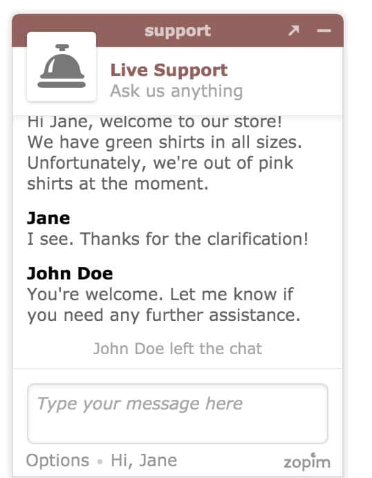 An example chat window