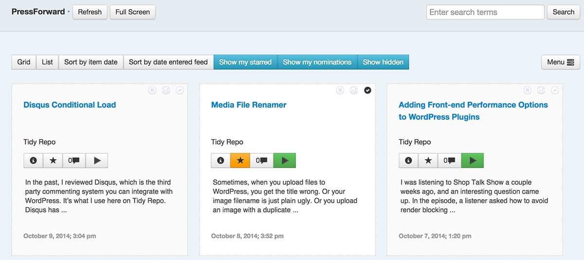 PressForward aggregator for WordPress