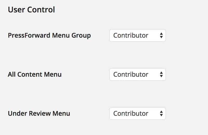 PressForward Plugin settings