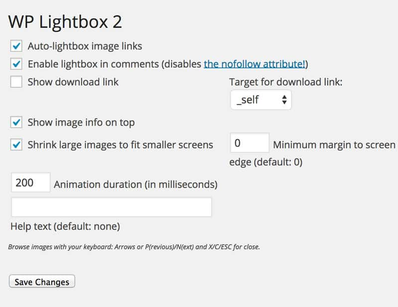 WP Lightbox 2 Settings page